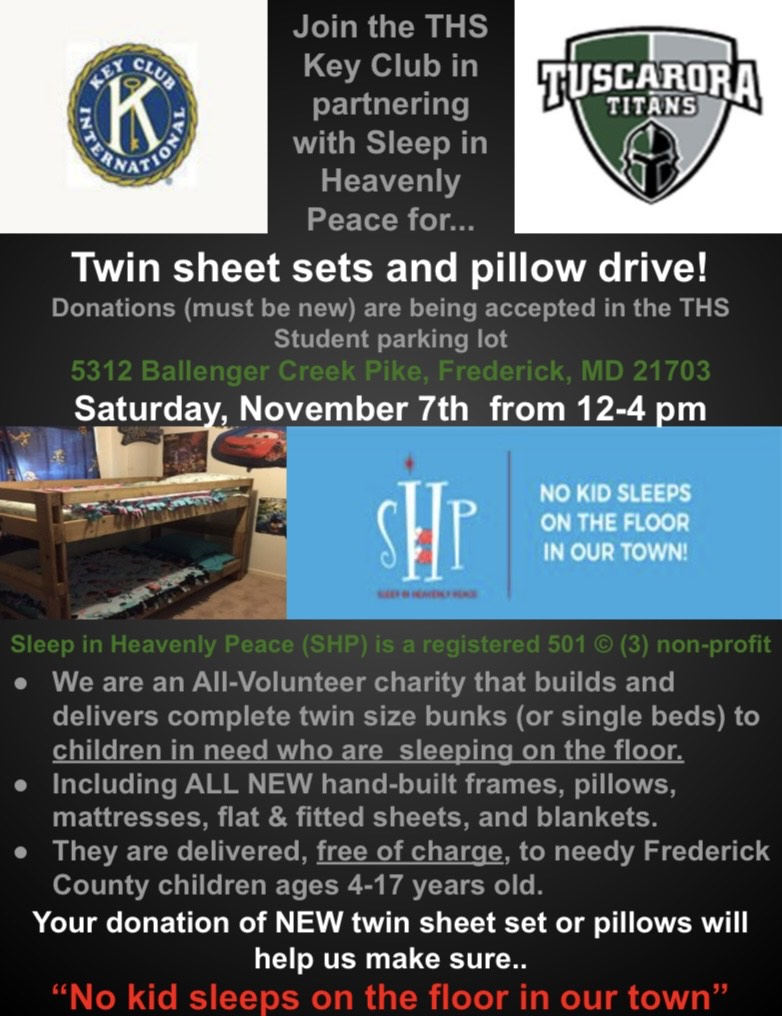 Sleep in Heavenly Peace Sheets Collection flyer for THS Key Club