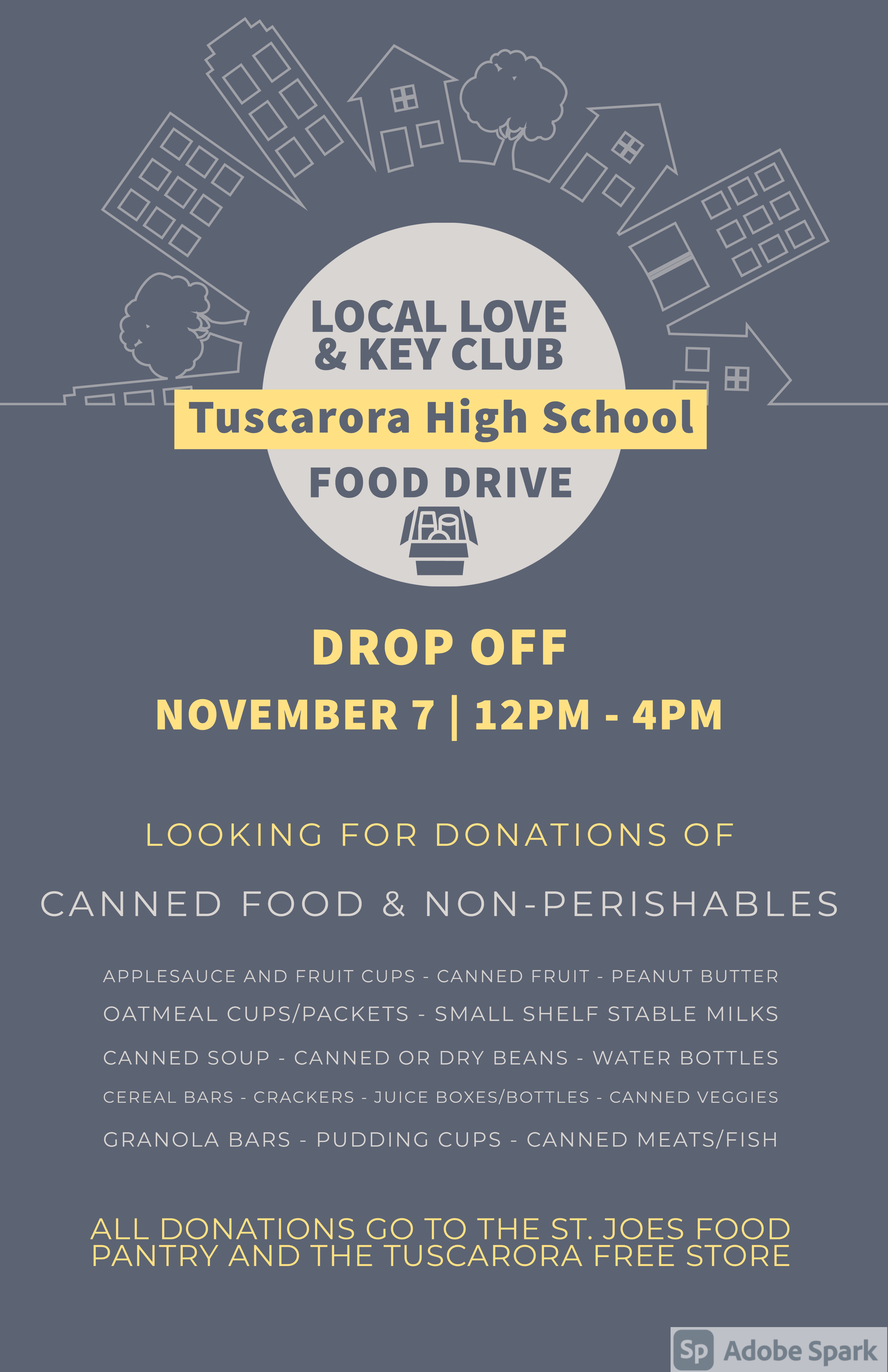 THS Food Drive Saturday November 7 from 12 PM - 4 PM