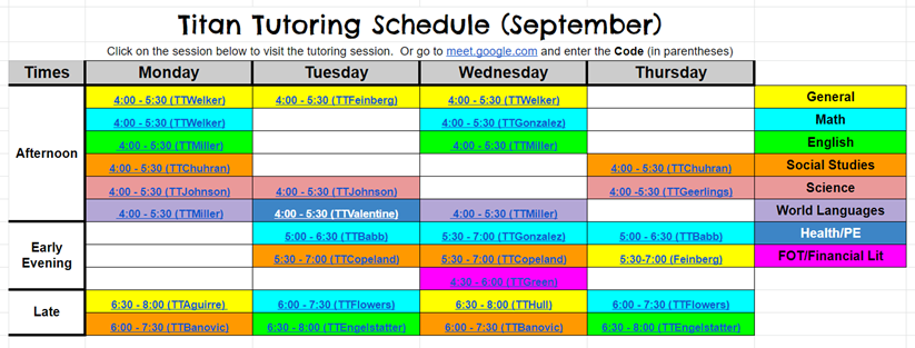 Titan Tutoring Schedule
