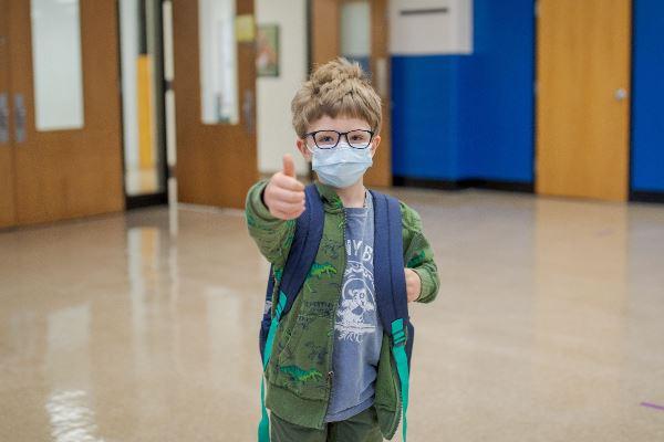 Photo of Properly Masked Emmitsburg ES Student